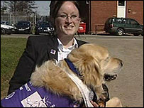Cheryl Smith with her assistance dog Orca